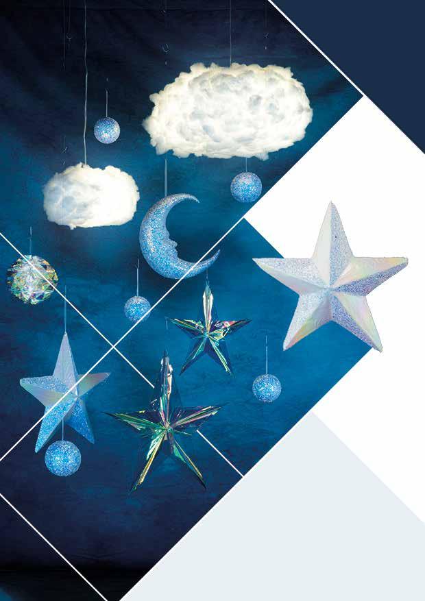 Décorations de noël en ouate : Nuages et étoiles